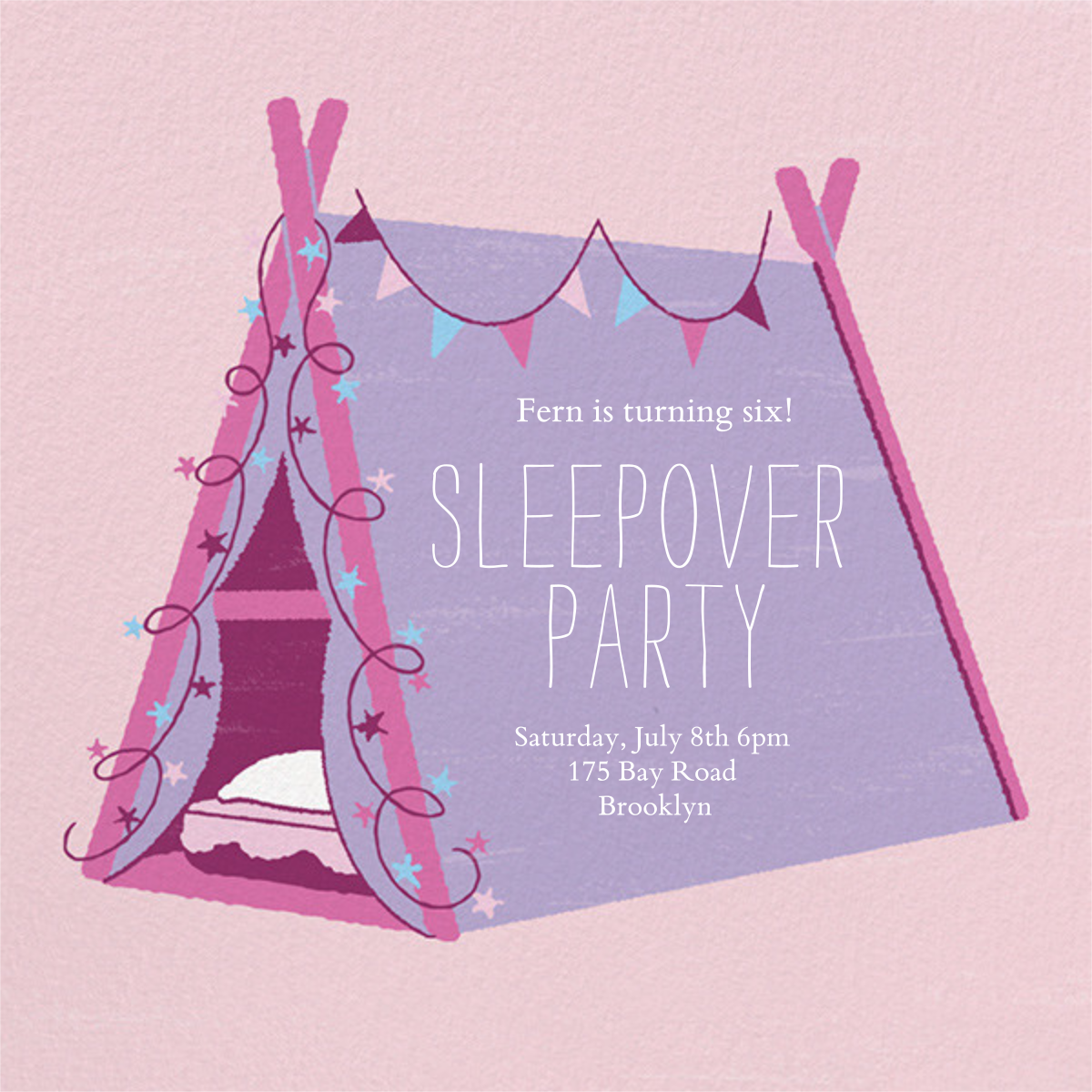 Sleepover Camp - Lavender - Paperless Post - Kids' birthday