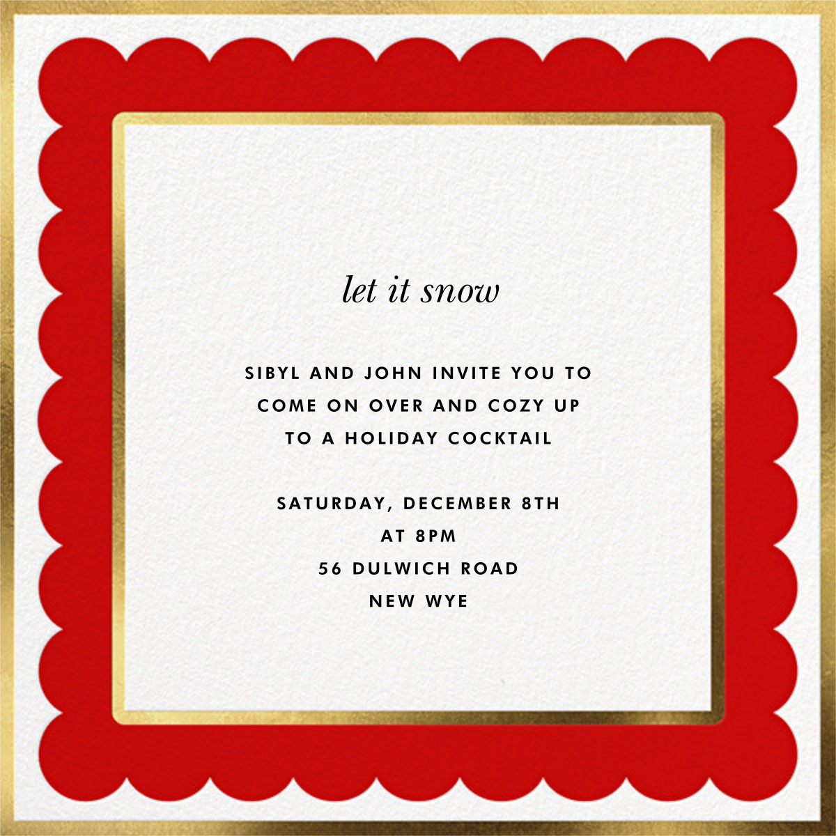 Scalloped Border - Red - kate spade new york - Holiday party