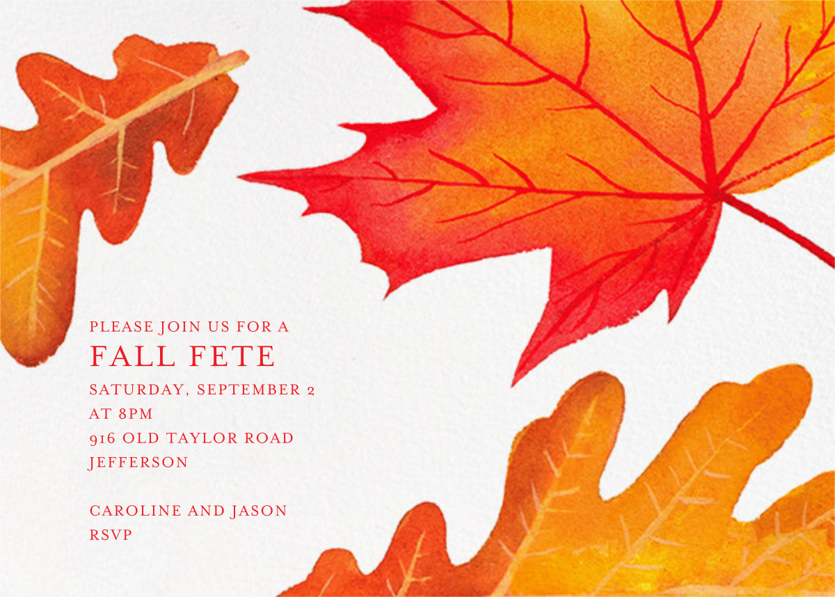 Falling Leaves - Paperless Post - Autumn entertaining