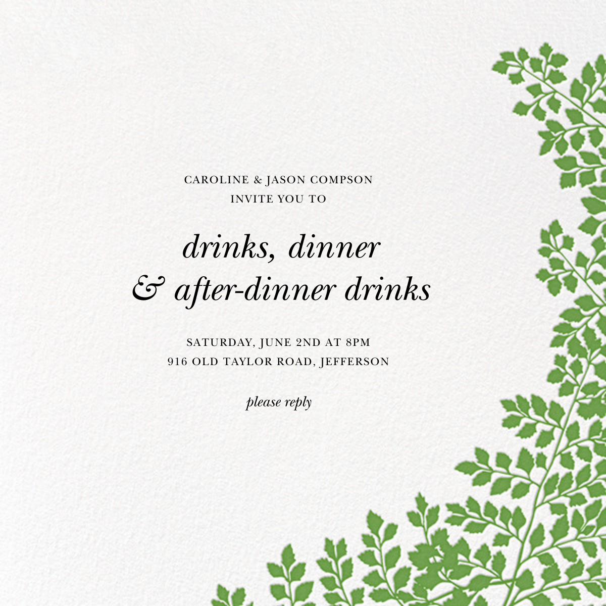 Fern II (Invitation) - Green - Paperless Post - Eventbrite