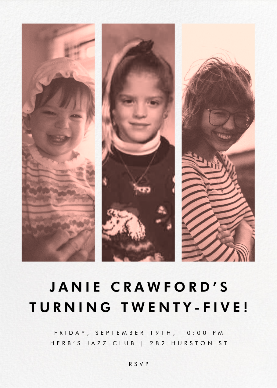 Three Photo Strips - Paperless Post - Adult birthday