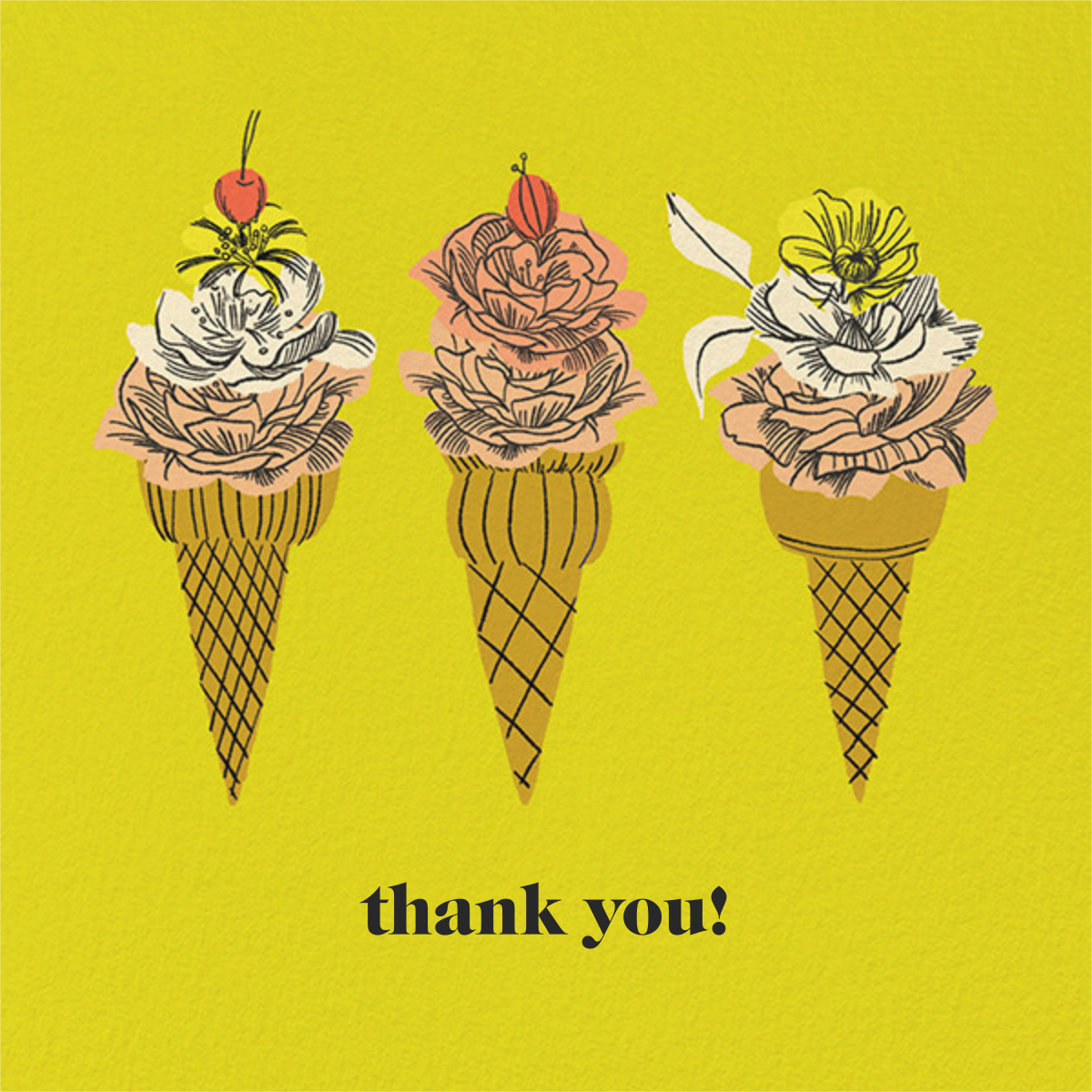 Flower Cones (Square) (Dylan Mierzwinski) - Red Cap Cards - Thank you