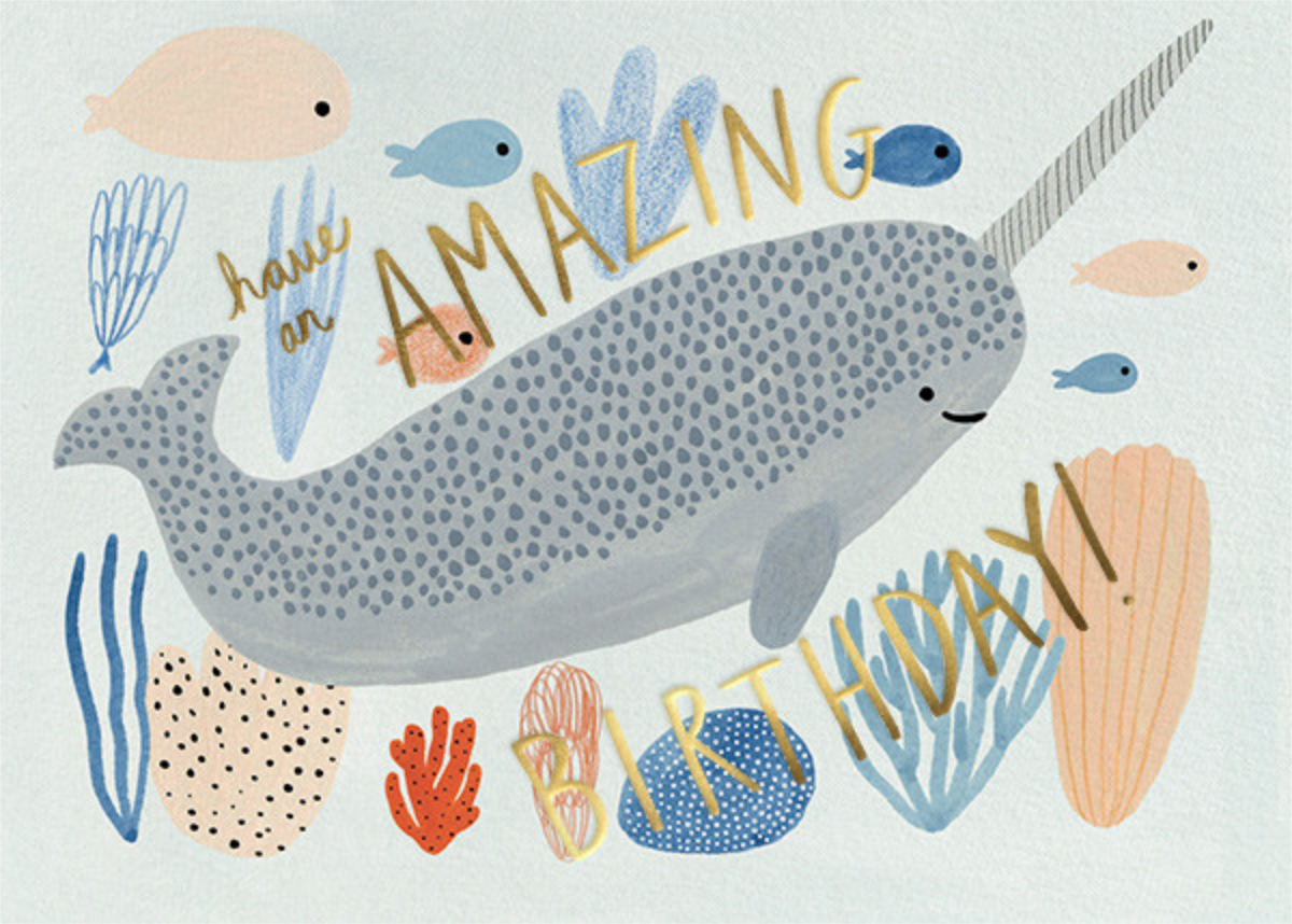 Narwhal Birthday (Kate Pugsly) - Red Cap Cards - Birthday