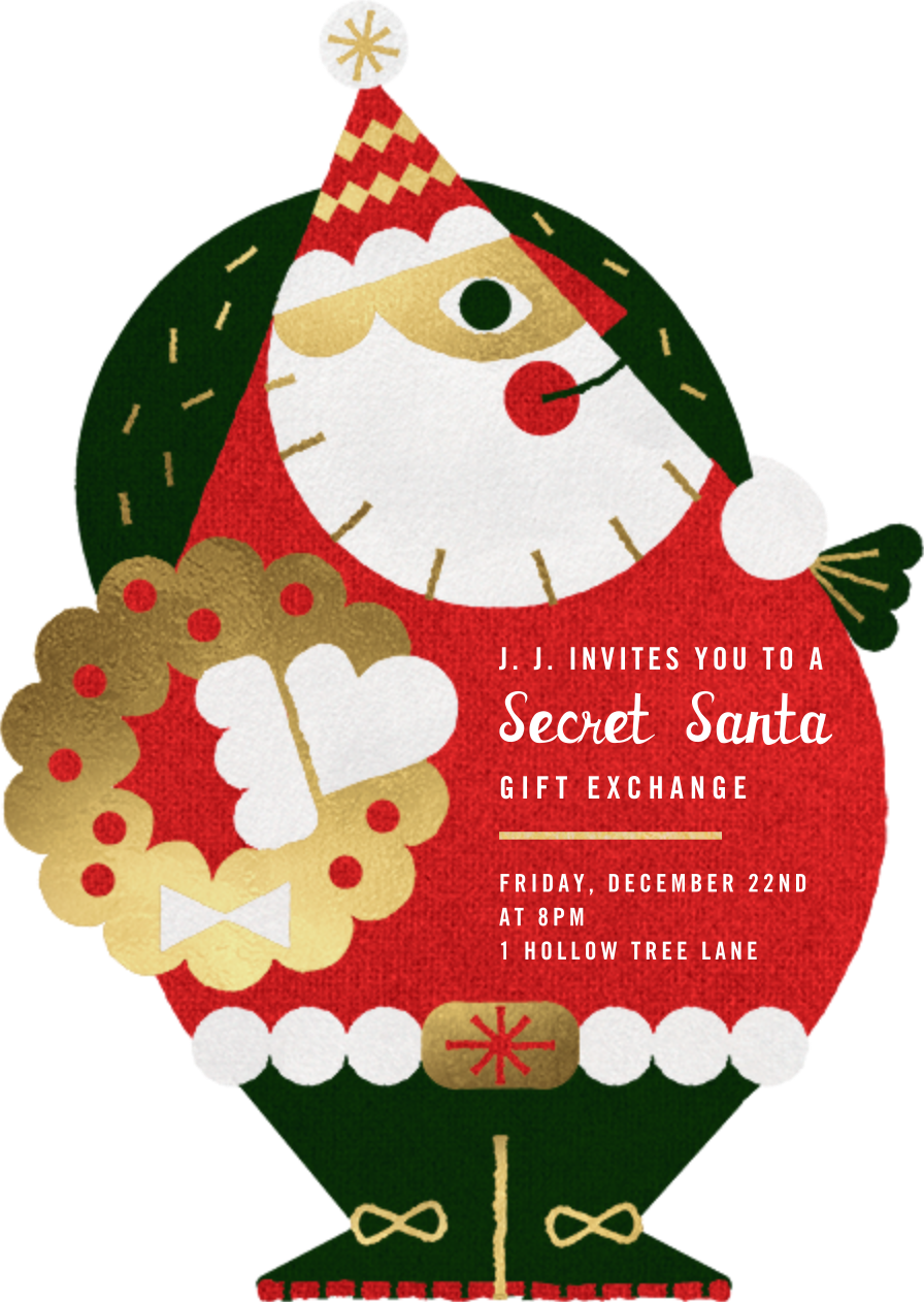 Gold Santa - Paperless Post - Gift exchange