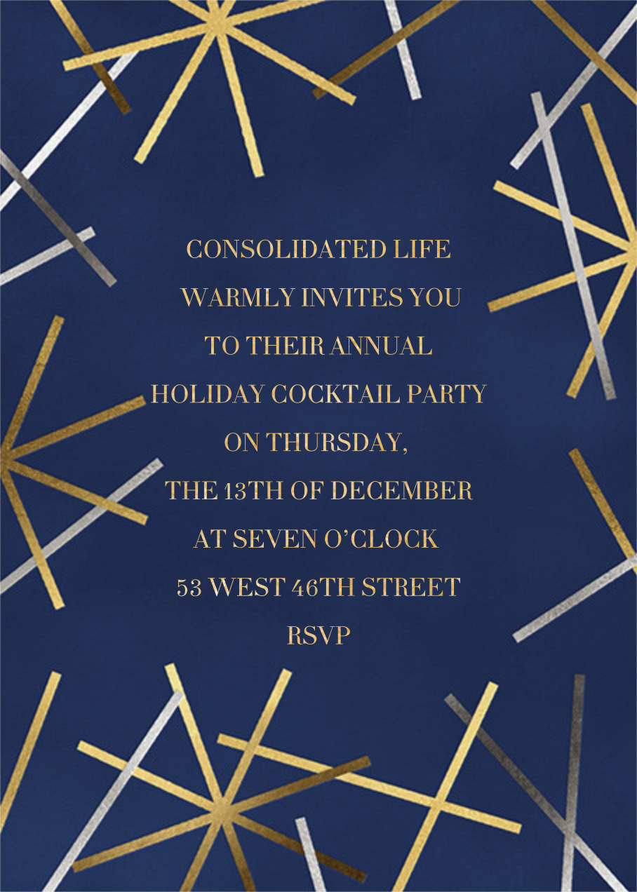 Snowflake Confetti - Dark Blue - Paperless Post - Corporate invitations