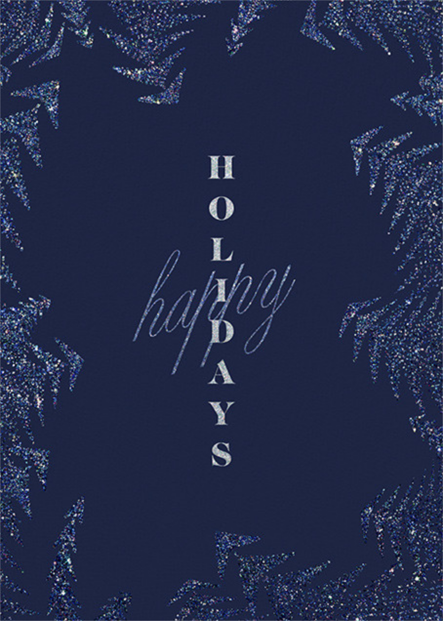 Crystal Pines (Greeting) - Dark Blue - Paperless Post - Holiday cards