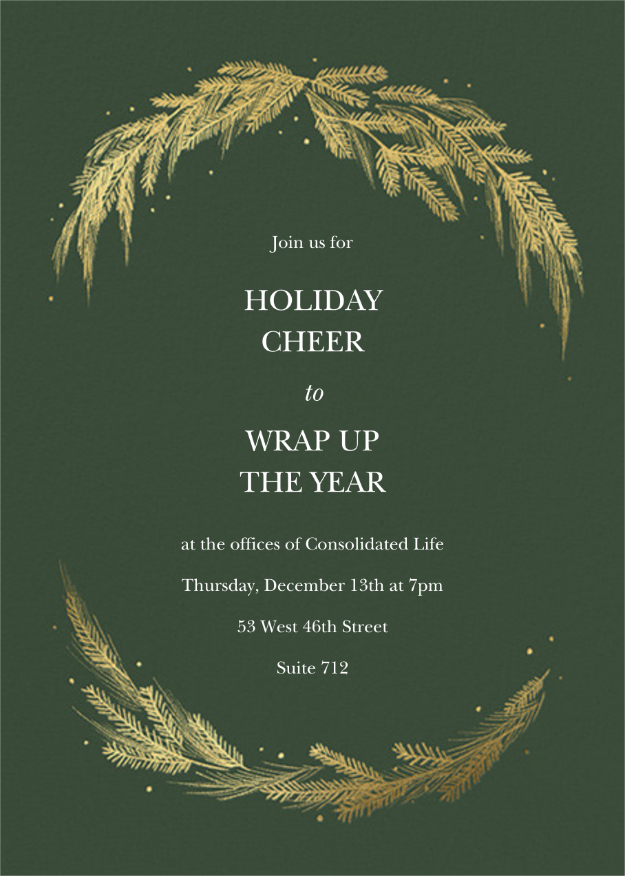 Greenery Frame - Greenwood - Paperless Post - Company holiday party