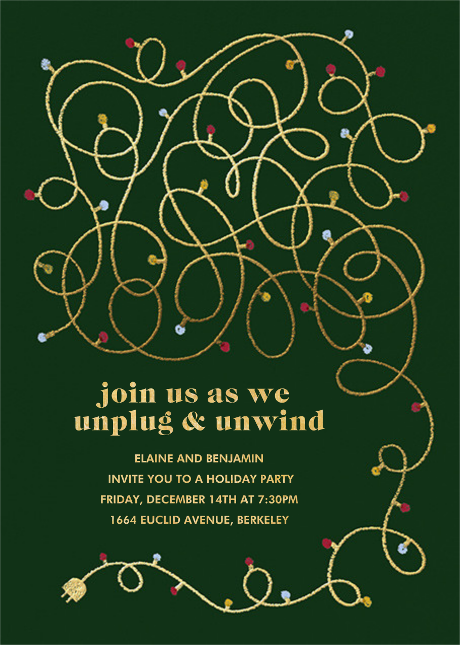 Unplug - Hunter Green - Paperless Post - Christmas party