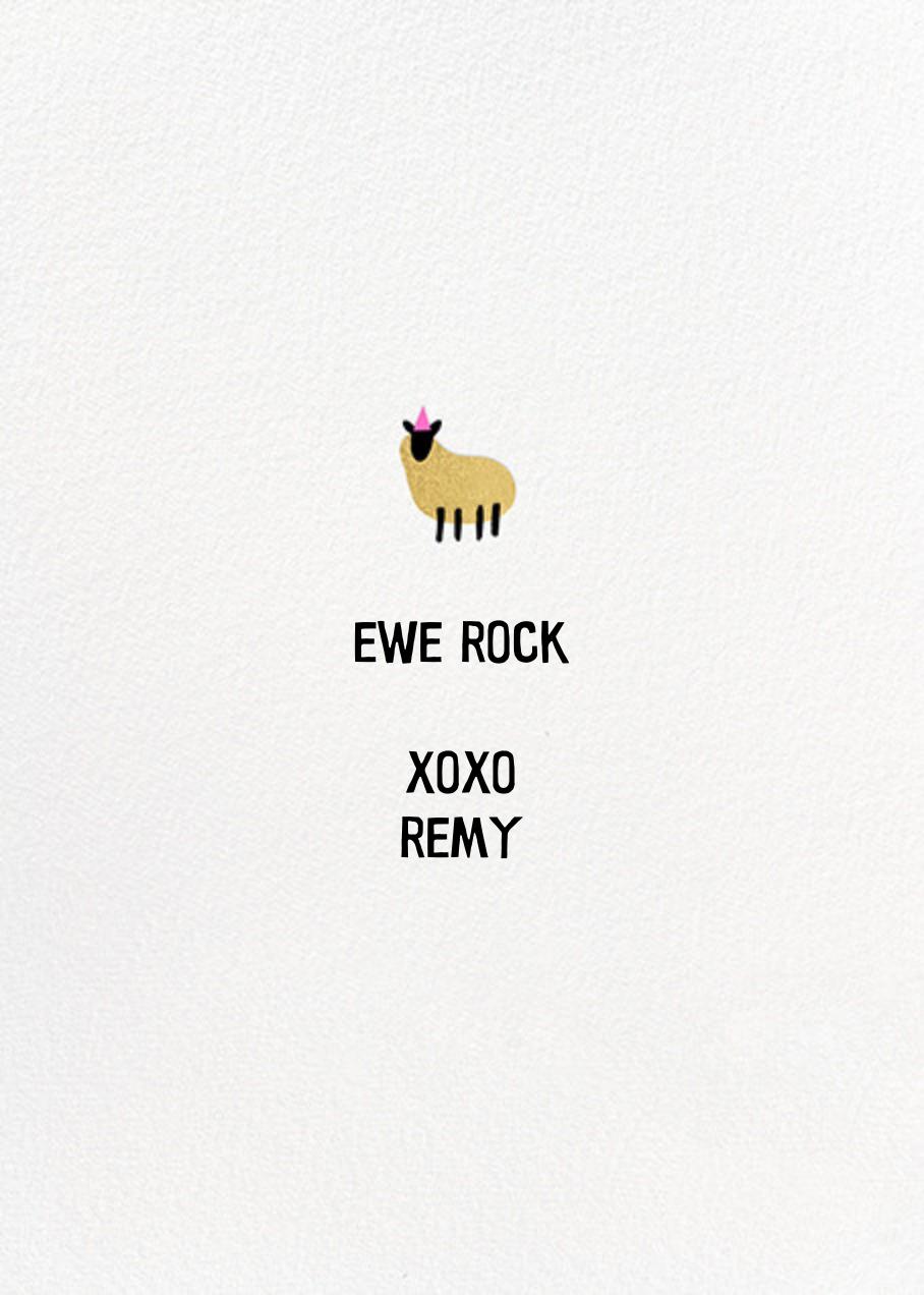 Ewe Rock - Hello!Lucky - Birthday - card back