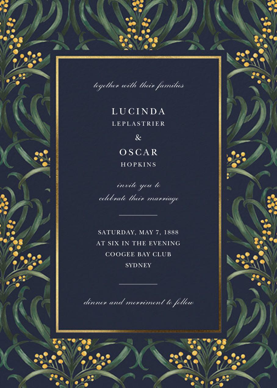 Flowering Mimosa (Invitation) - Navy - Oscar de la Renta - All