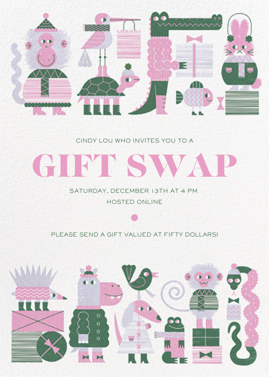 Gift Swap - Mauve - Paperless Post - Holiday party