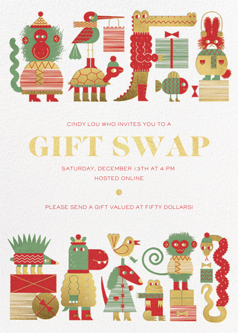 Gift Swap - Gold - Paperless Post - Holiday party