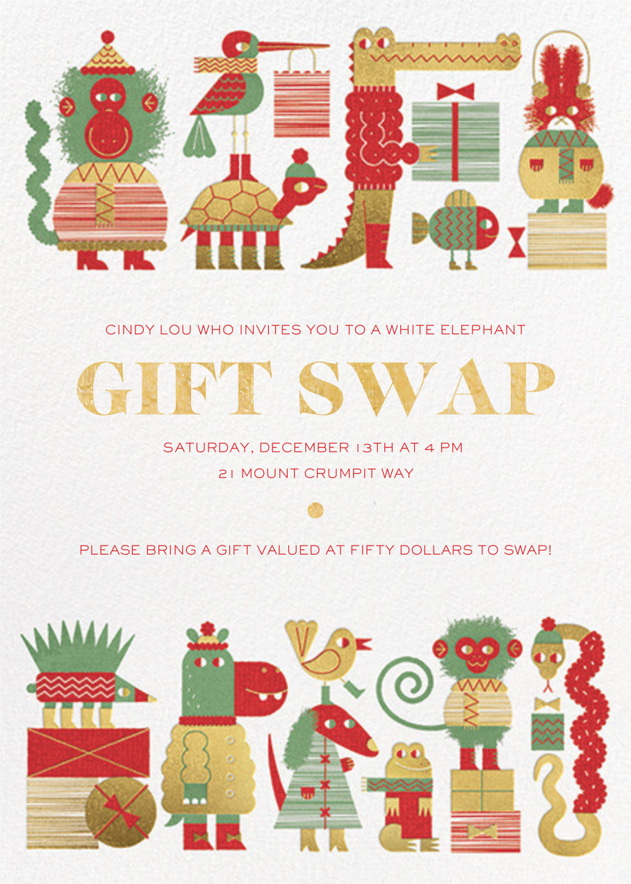 Gift Swap - Gold - Paperless Post - Gift exchange
