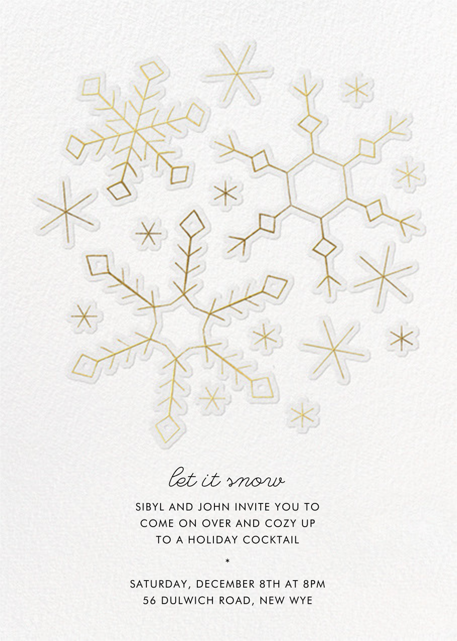 Gold Snowflakes - Paperless Post - Winter parties