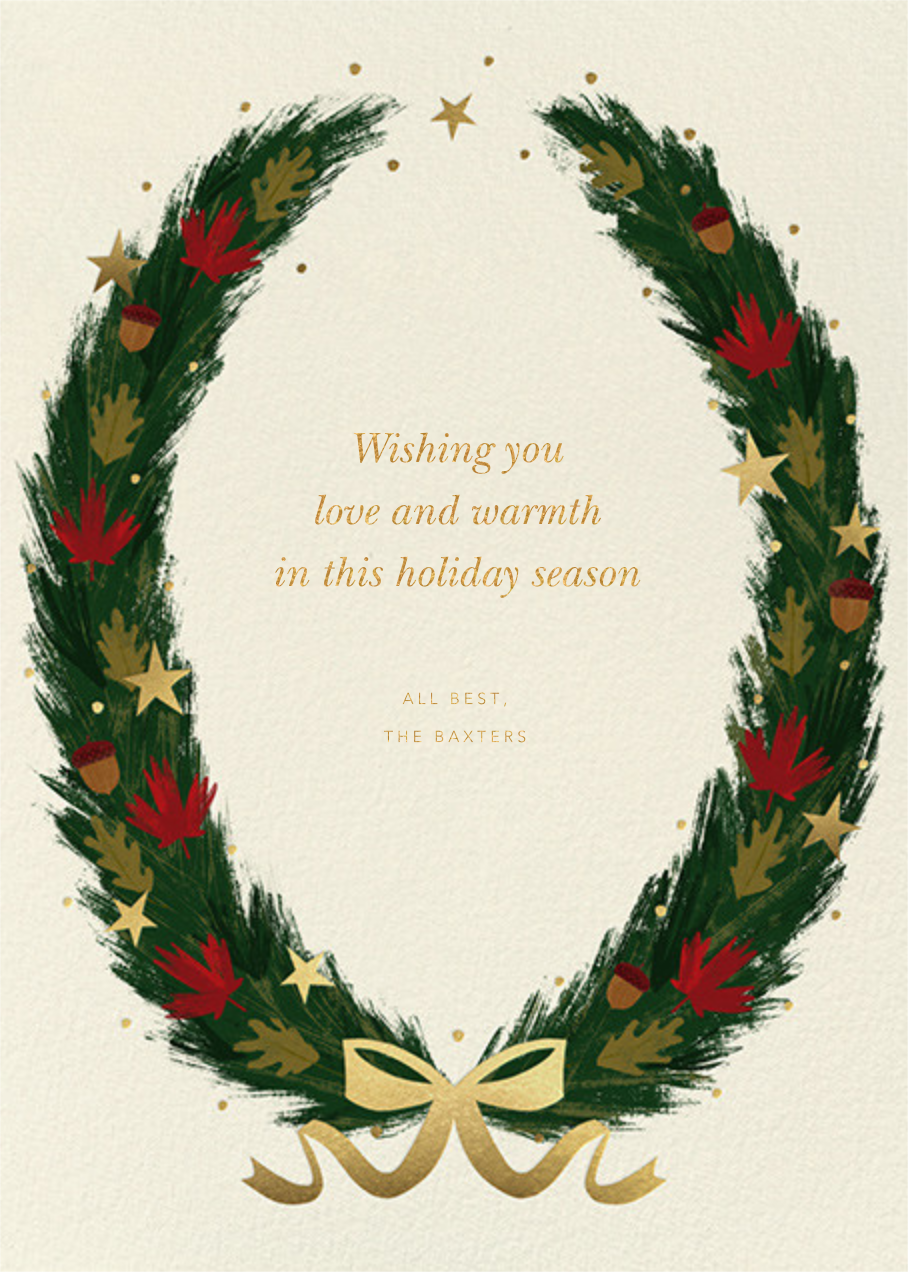 Maple Wreath - Cream - Paperless Post - Holiday cards