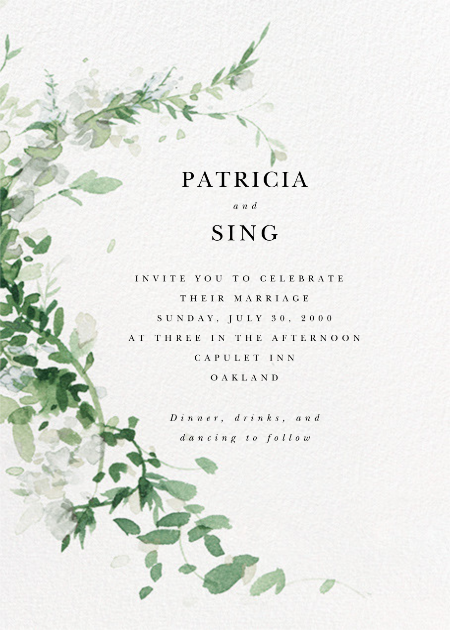 Watercolor Garland (Invitation) - Palm - Paperless Post - All
