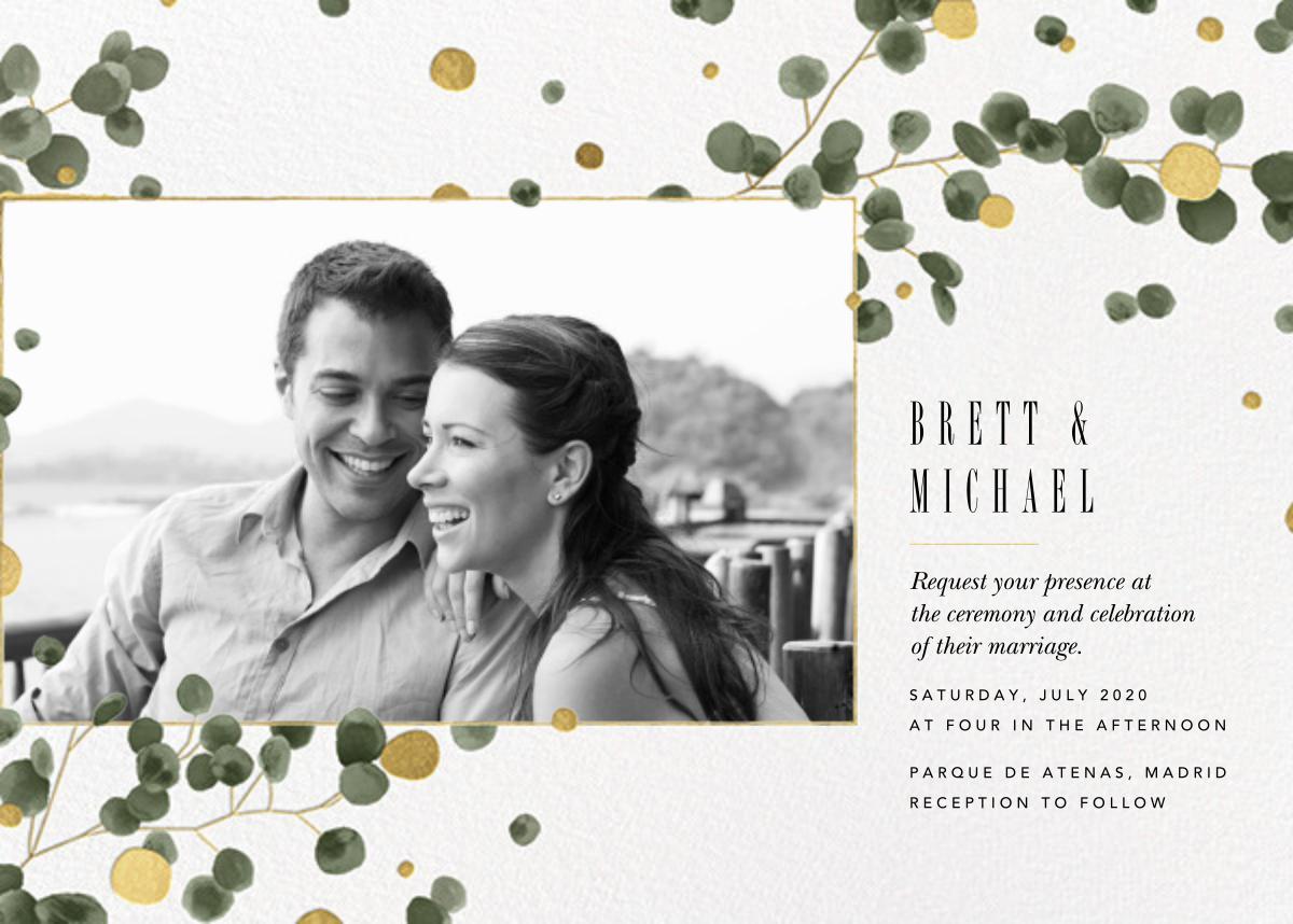 Golden Eucalyptus Photo (Invitation) - Paperless Post - All