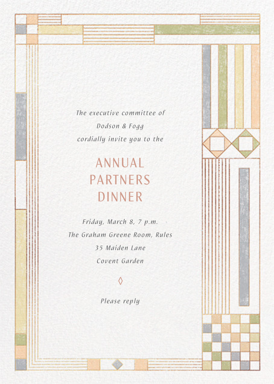 Deco Asymmetry - Pastel - Paperless Post - Dinner and luncheon