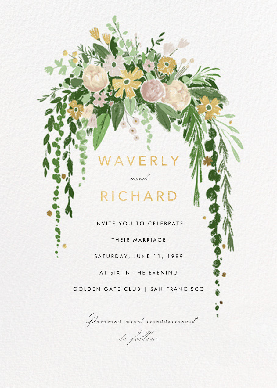 Dripping Floral (Invitation) - Moss - Paperless Post - All