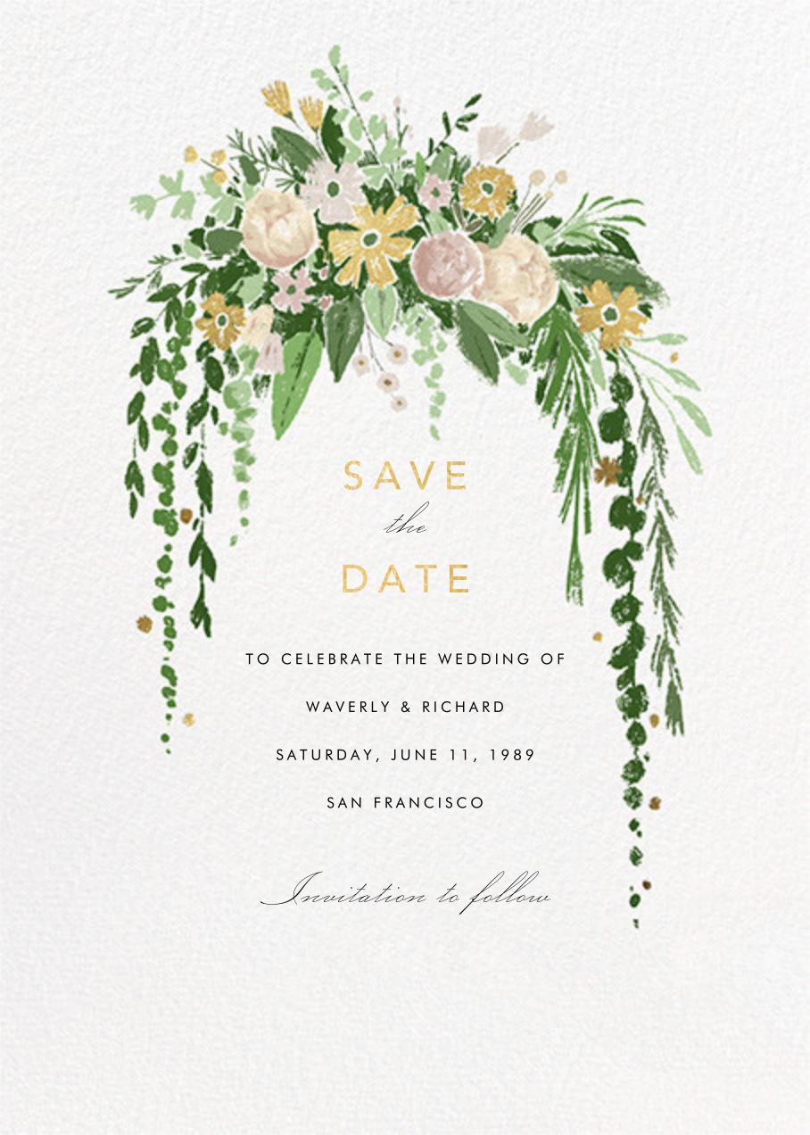 Dripping Floral - Moss - Paperless Post - Save the date