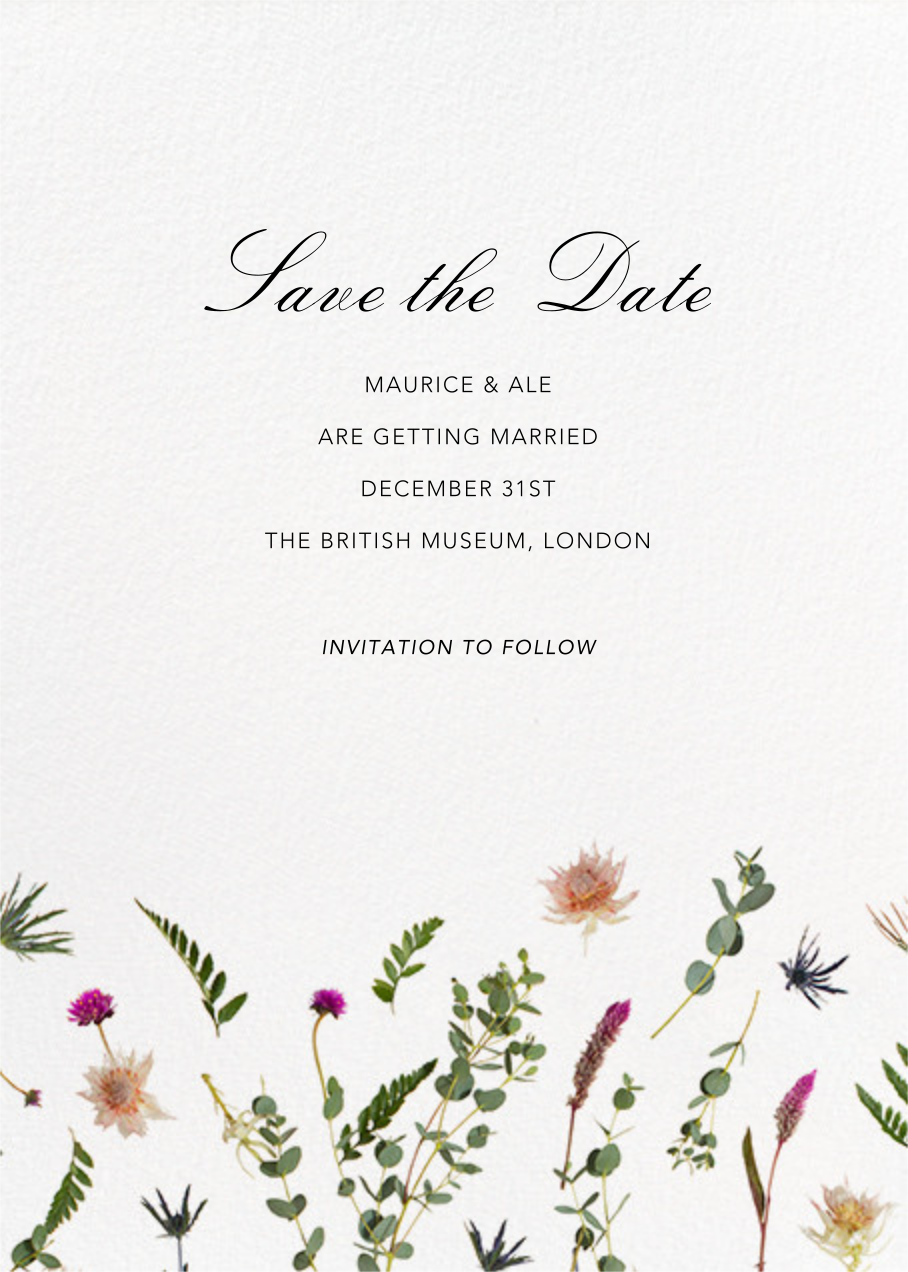 Fleurs Sauvages (Tall) - Save the Date - Paperless Post - Save the date