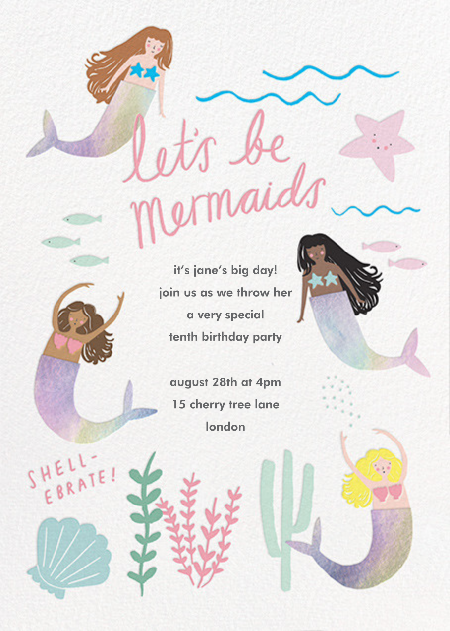Mermaids in Waiting - Meri Meri - Mermaid birthday invitations