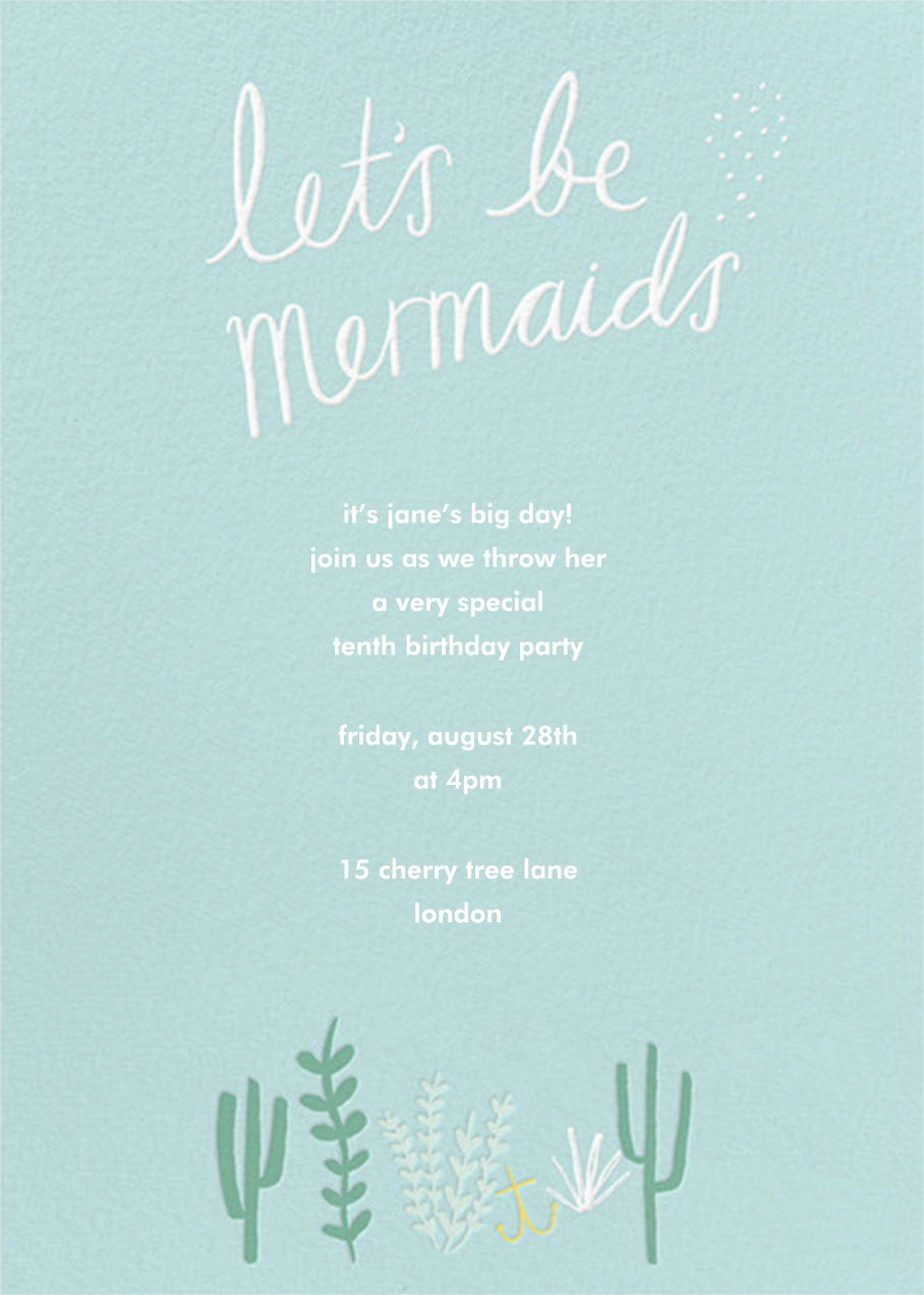 Mermaids in Waiting Photo  - Meri Meri - Mermaid birthday invitations - card back