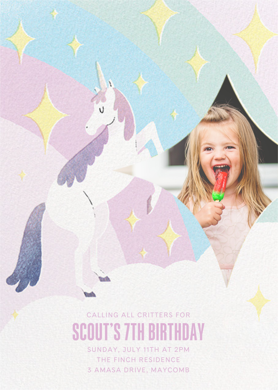 Magic Unicorn Photo - Paperless Post - Kids' birthday
