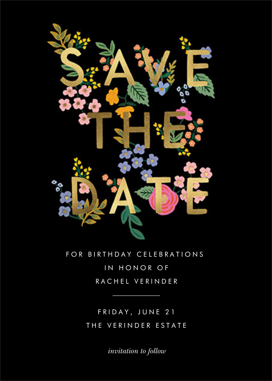 Posey - Black - Rifle Paper Co. - Birthday save the dates
