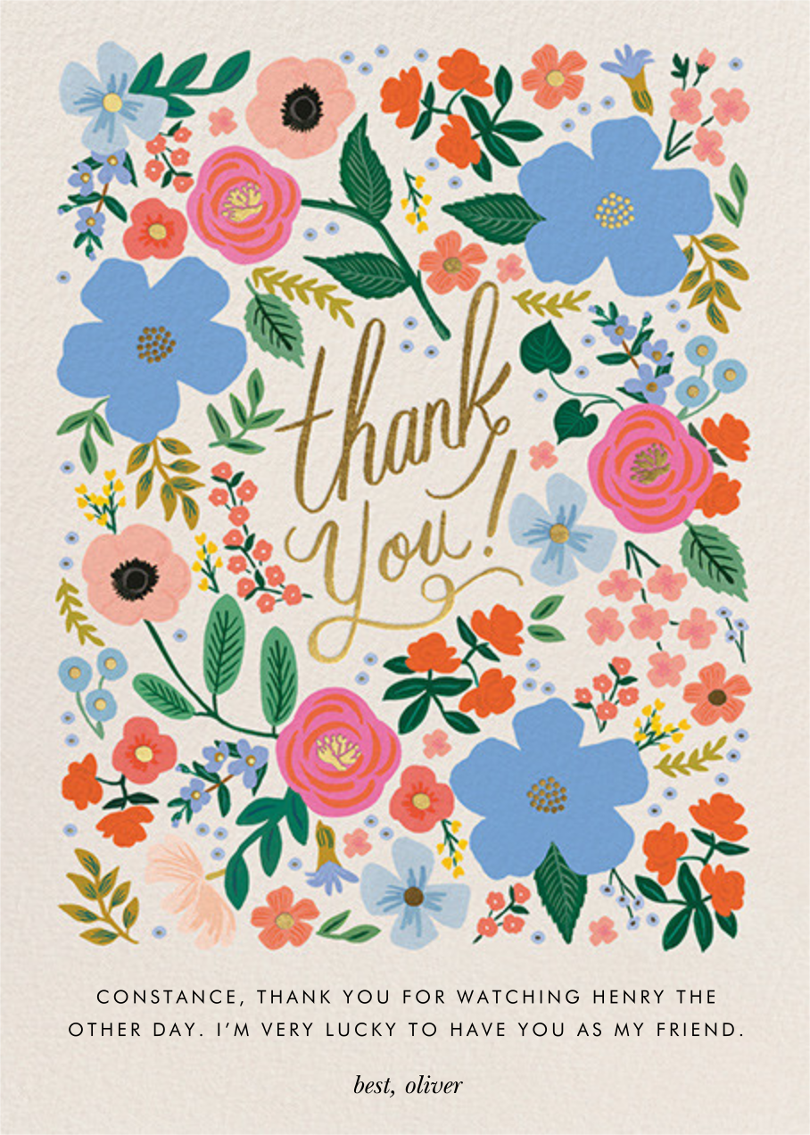 Wild Rose Thank You - Rifle Paper Co. - Thank you