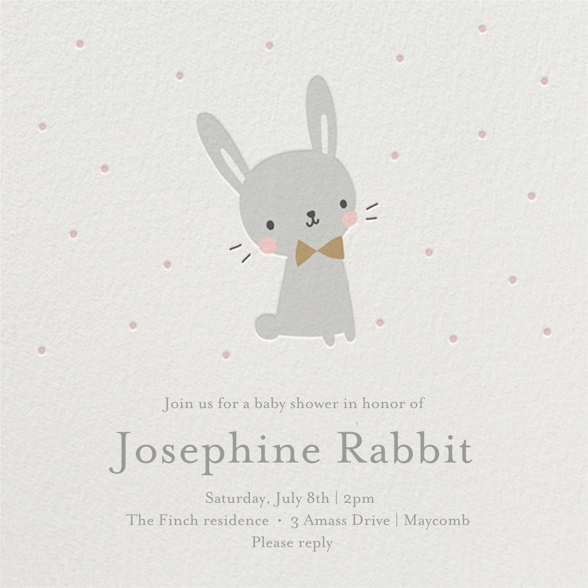 Baby Bunny - Little Cube - Woodland baby shower invitations
