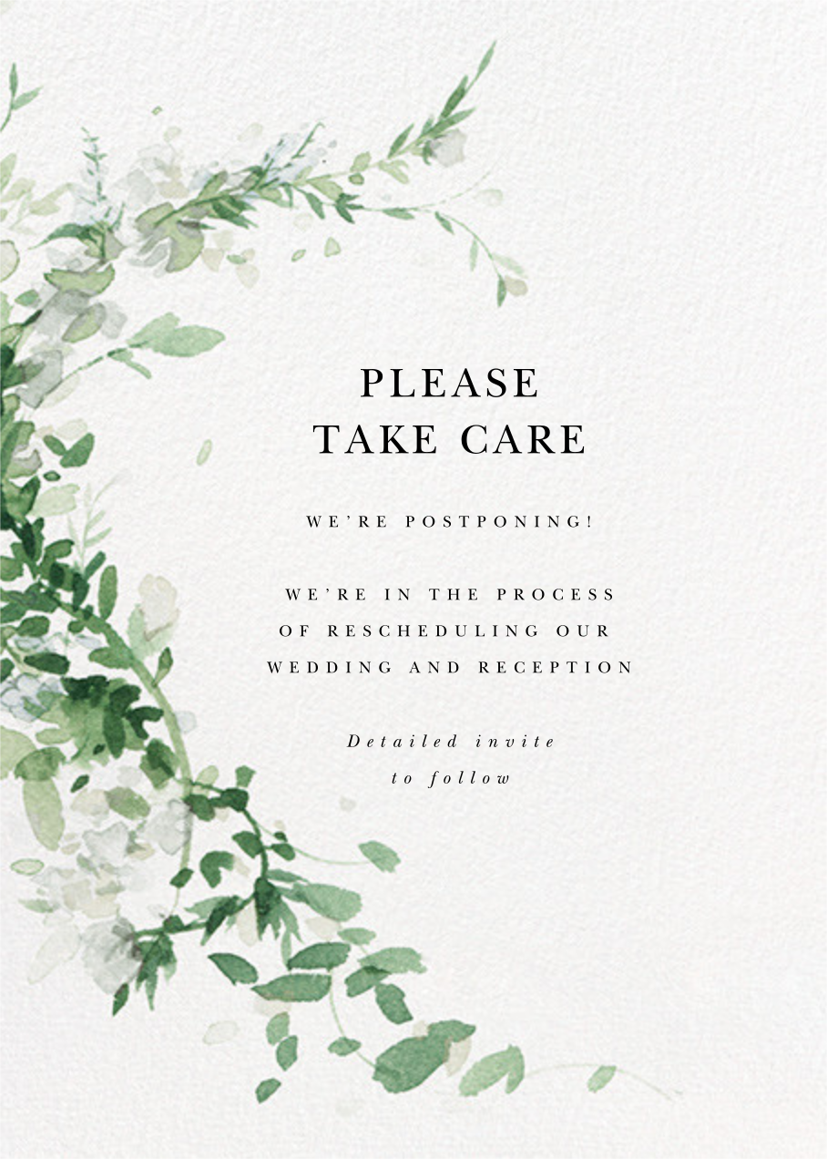 Watercolor Garland - Palm - Paperless Post - Wedding postponement