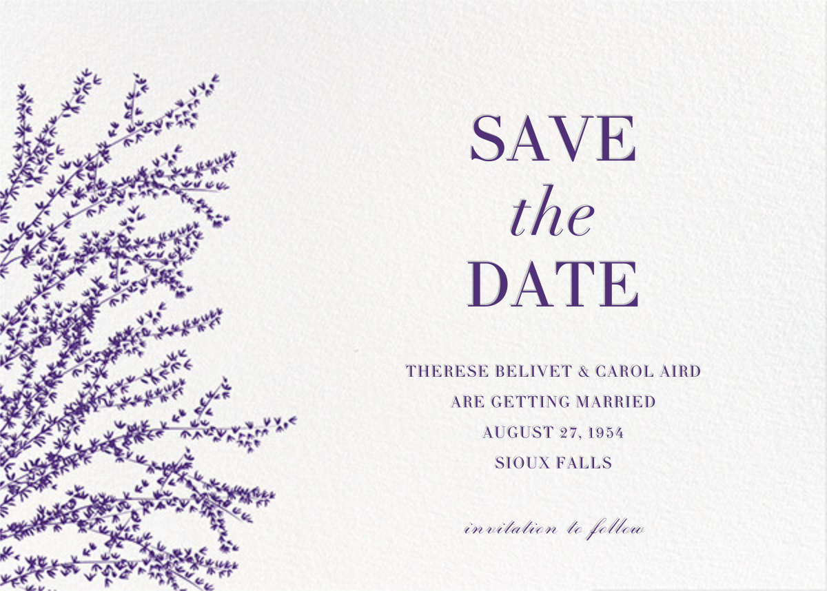 Forsythia (Horizontal) - Mulberry - Paperless Post - Save the date