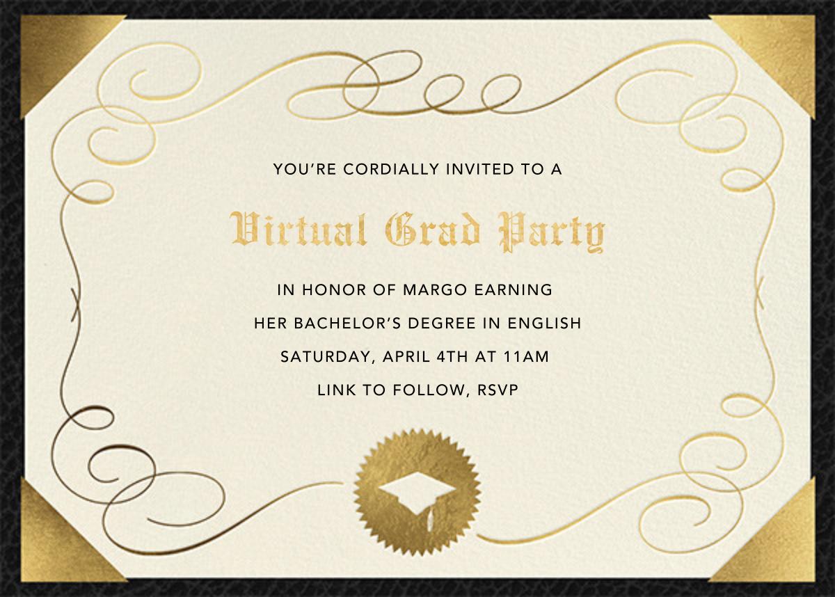 Diploma - Paperless Post - Virtual parties - card back