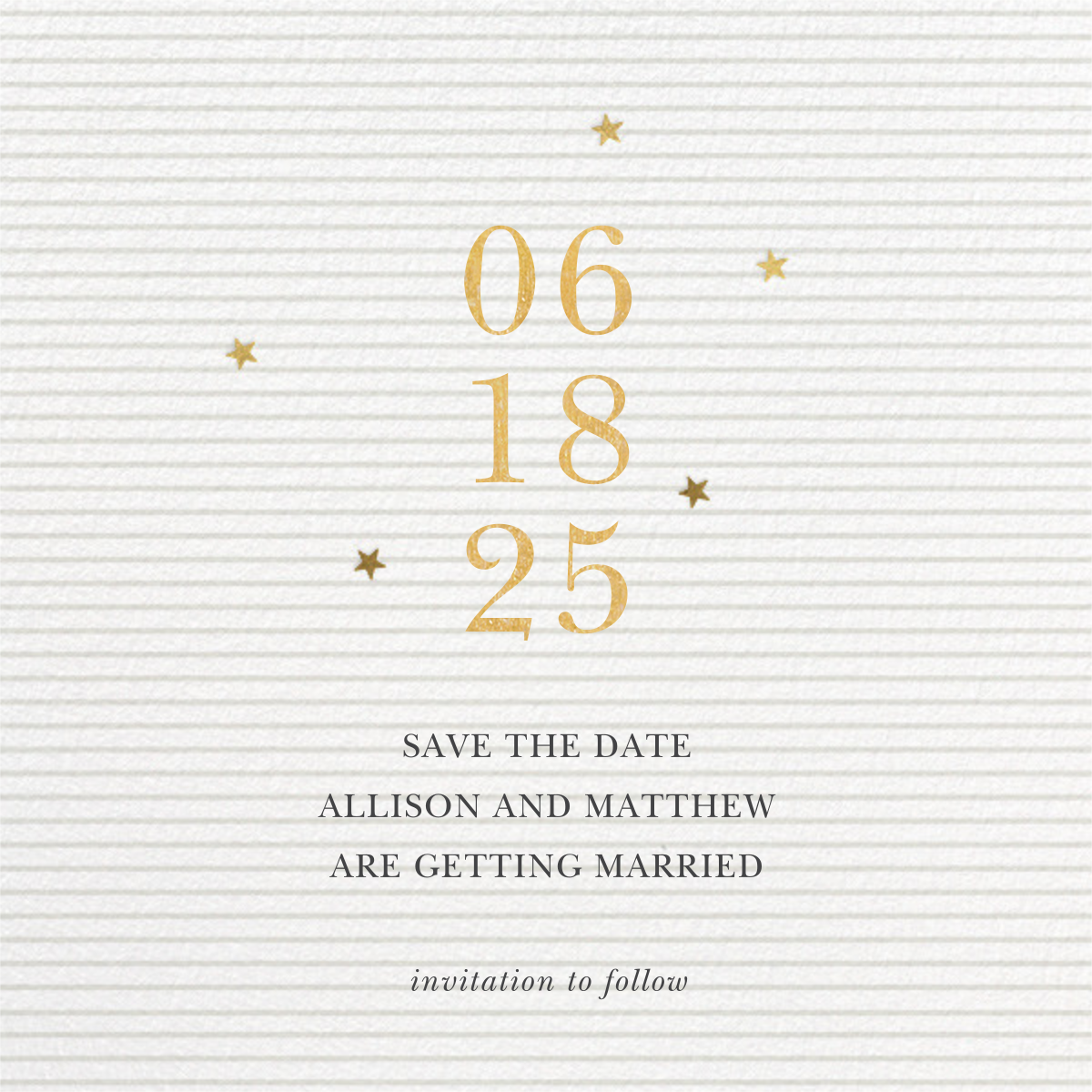 Stars Aligned - Sugar Paper - Save the date