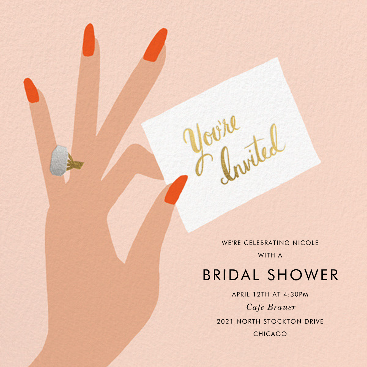 You're Invited Ring - Flame - Rifle Paper Co. - Bridal shower