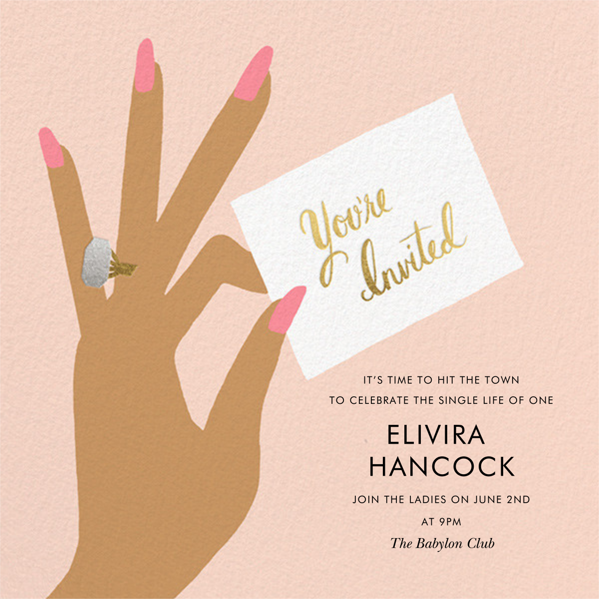 You're Invited Ring - Pink - Rifle Paper Co. - Bachelorette party