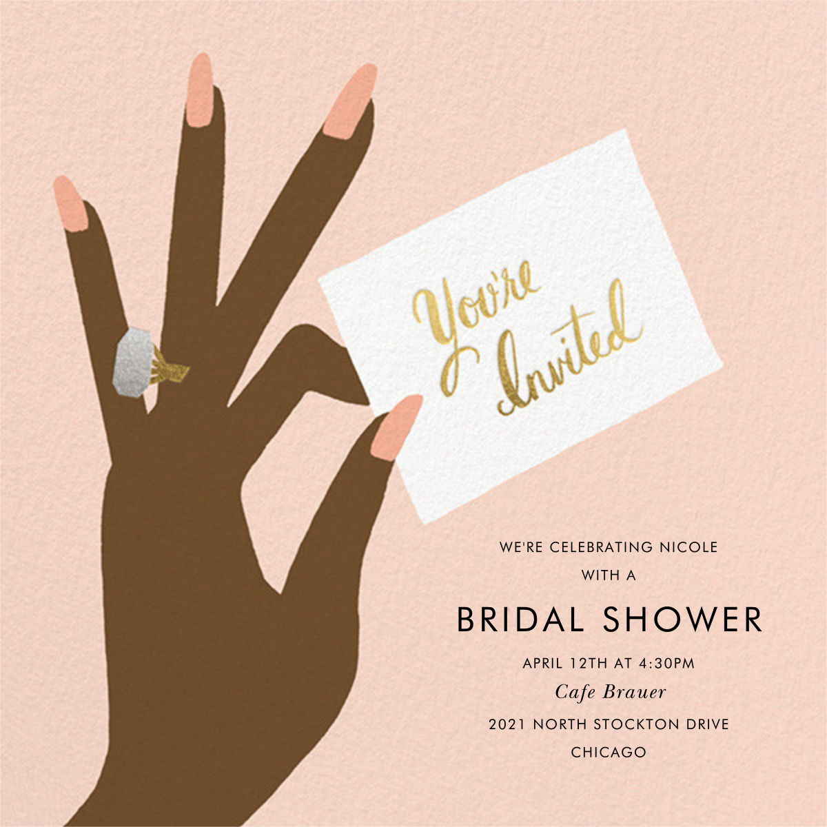 You're Invited Ring - Sherbet - Rifle Paper Co. - Bridal shower