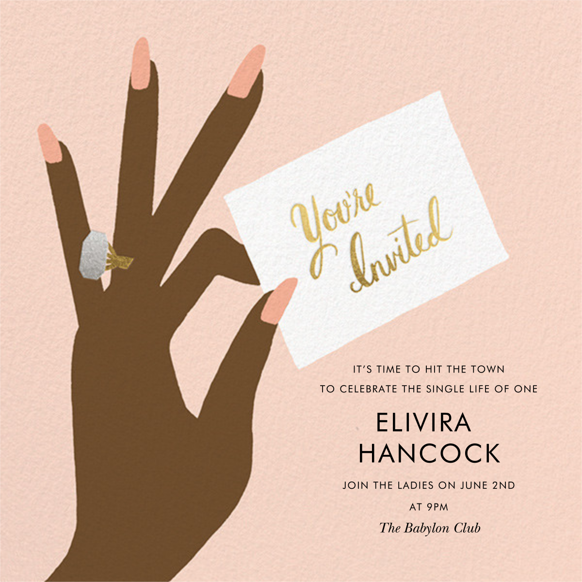 You're Invited Ring - Sherbet - Rifle Paper Co. - Bachelorette party