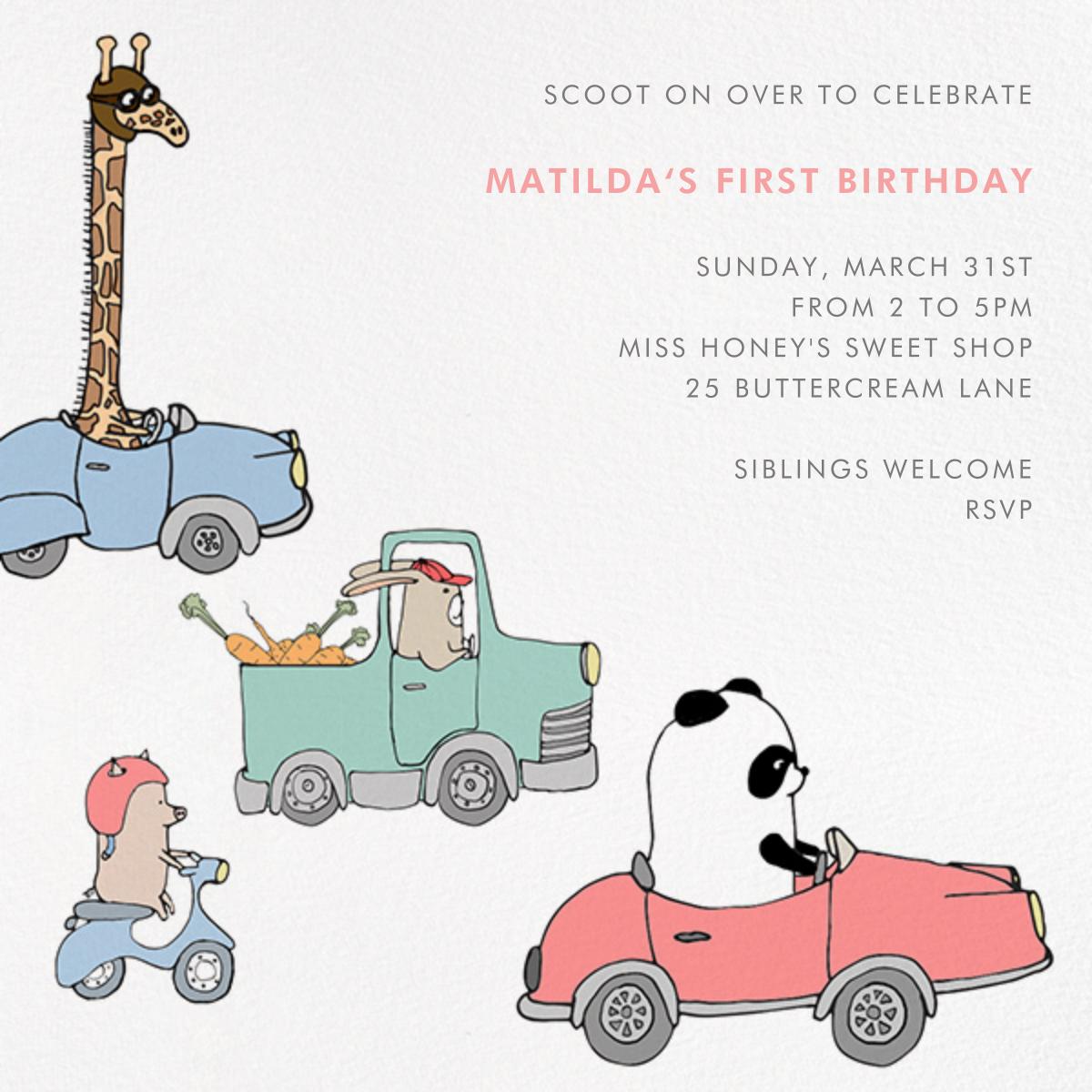 Automotive Animals - Paperless Post - First birthday