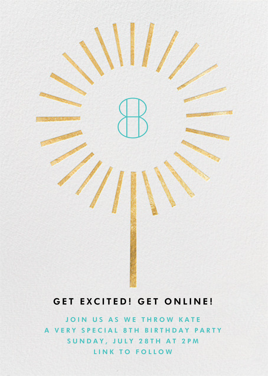 Year of the Sparkler - Gold/White - Paperless Post - Kids' birthday