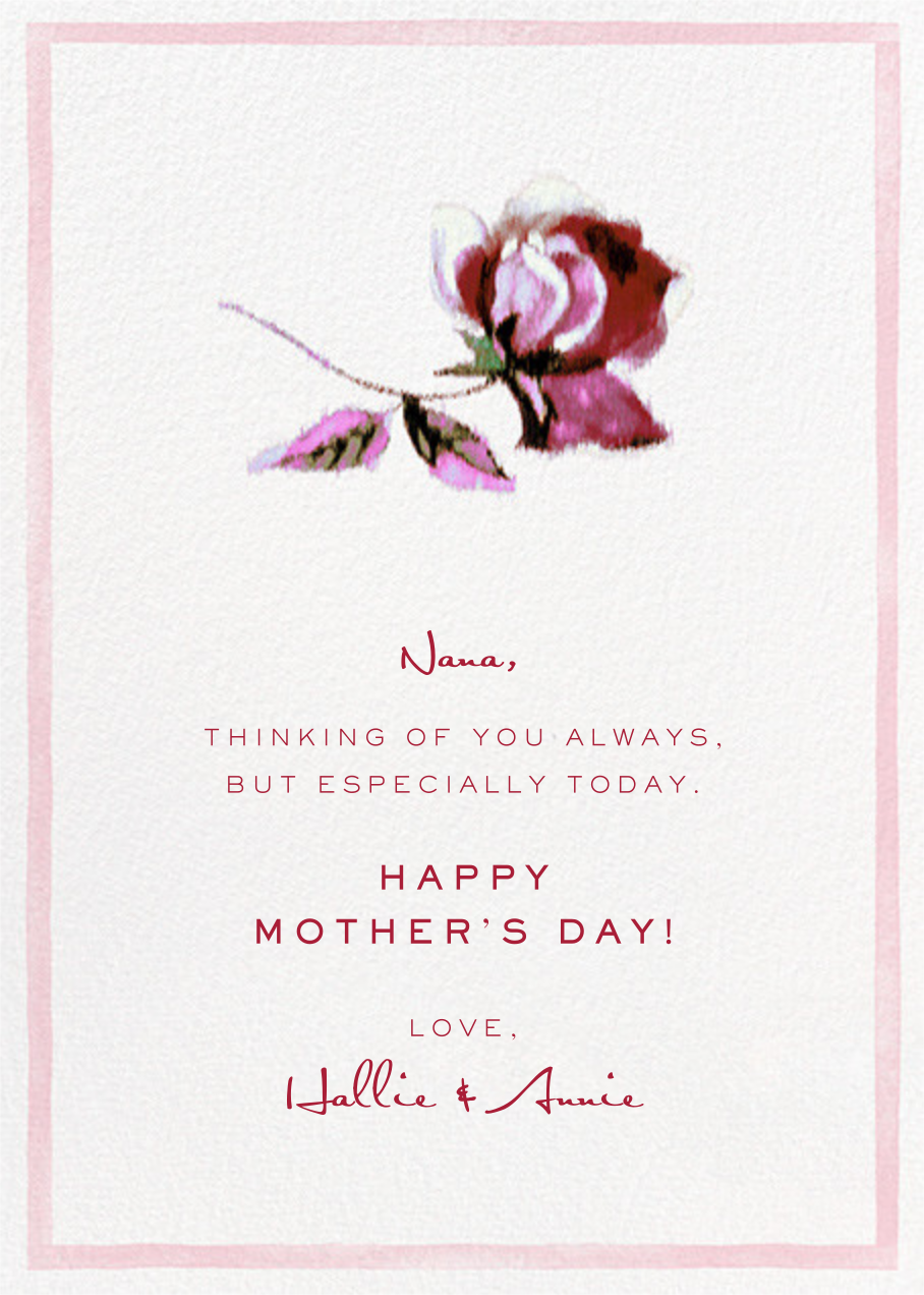 Abstracted Bloom (Greeting) - Pink - Carolina Herrera - Mother's Day - card back