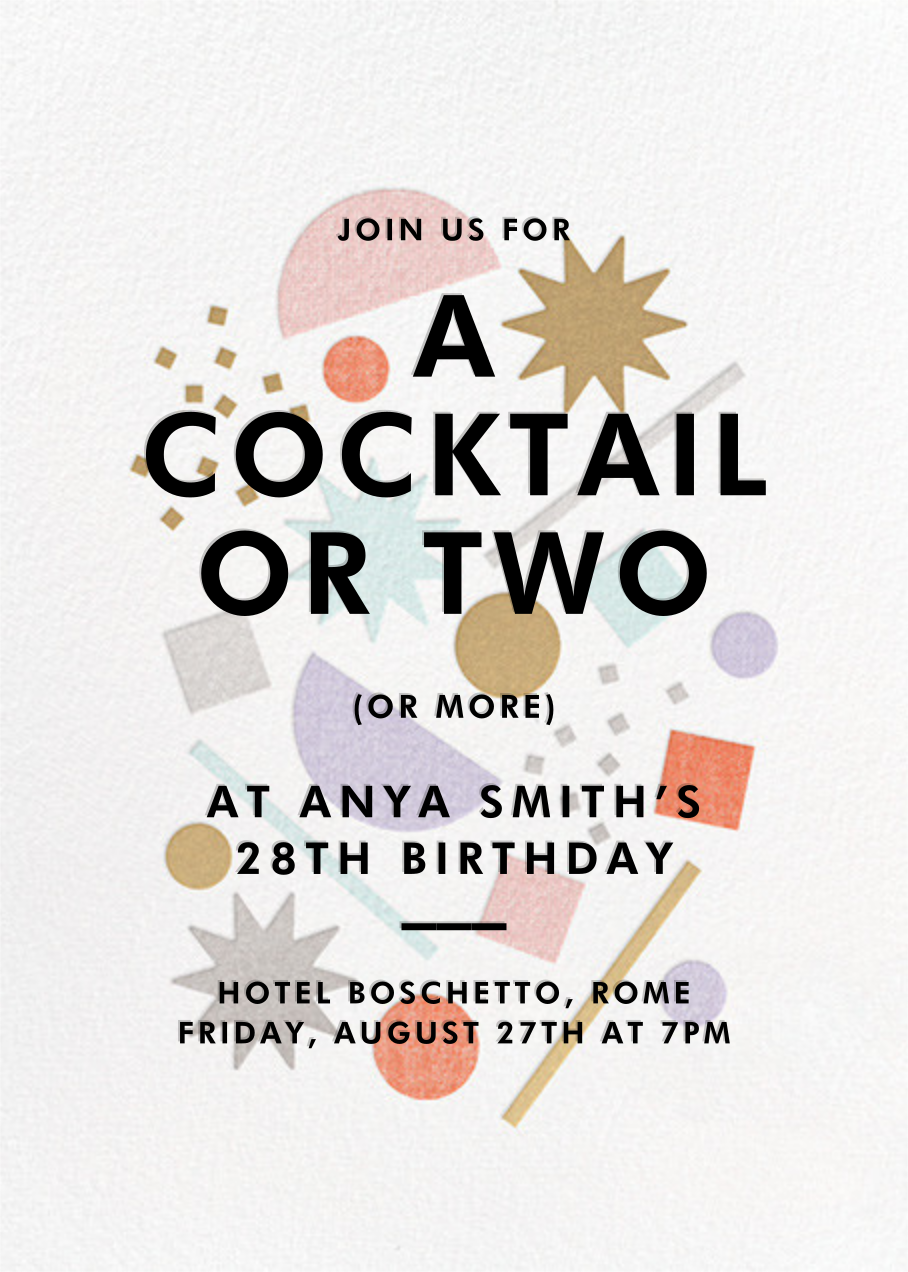 Cocktail Confetti - Paperless Post - Adult birthday