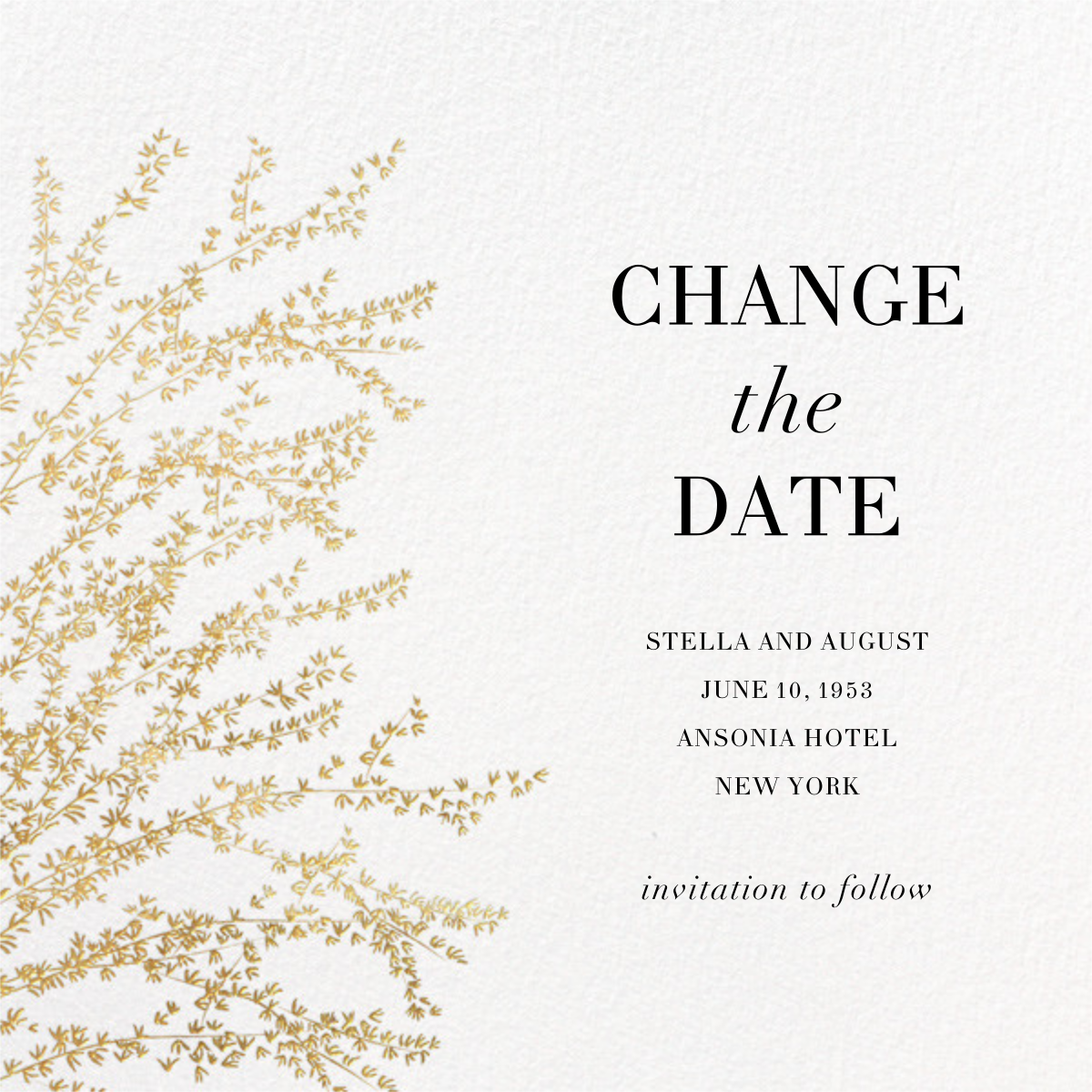 Forsythia (New Date) - Gold - Paperless Post - Party save the dates