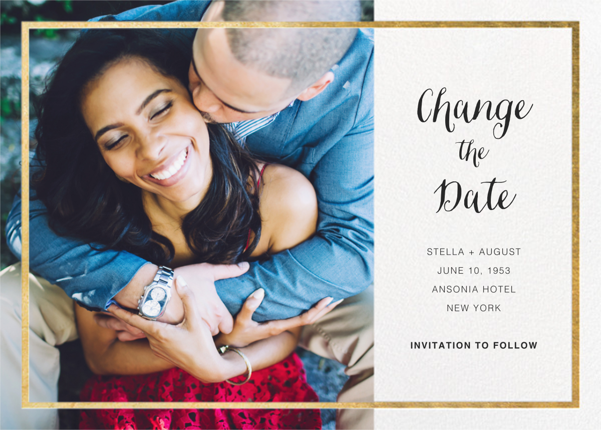 Idylle (Photo New Date) - White/Gold - Paperless Post - Change the date