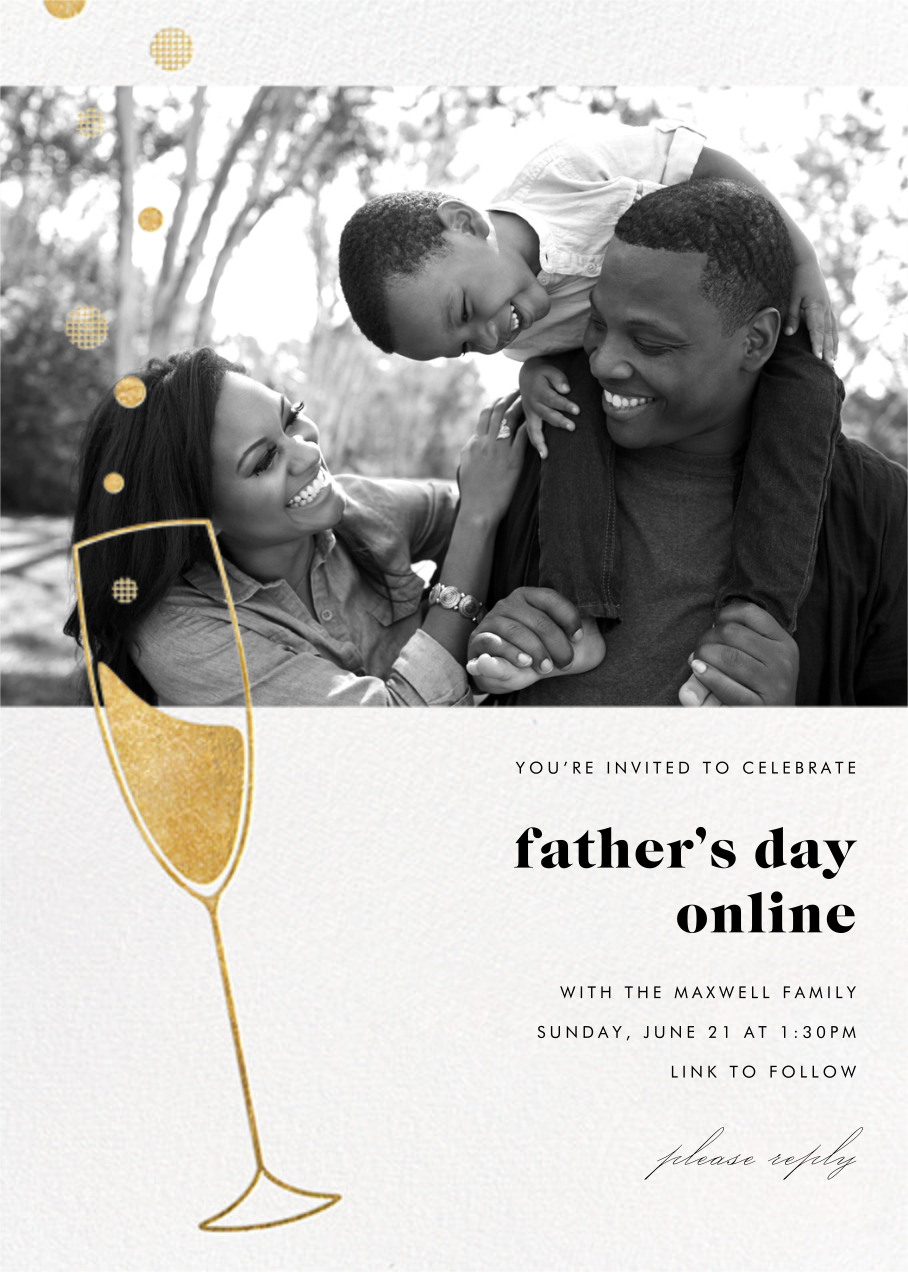 Champagne Bubbles (Photo) - Gold - Paperless Post - Virtual parties