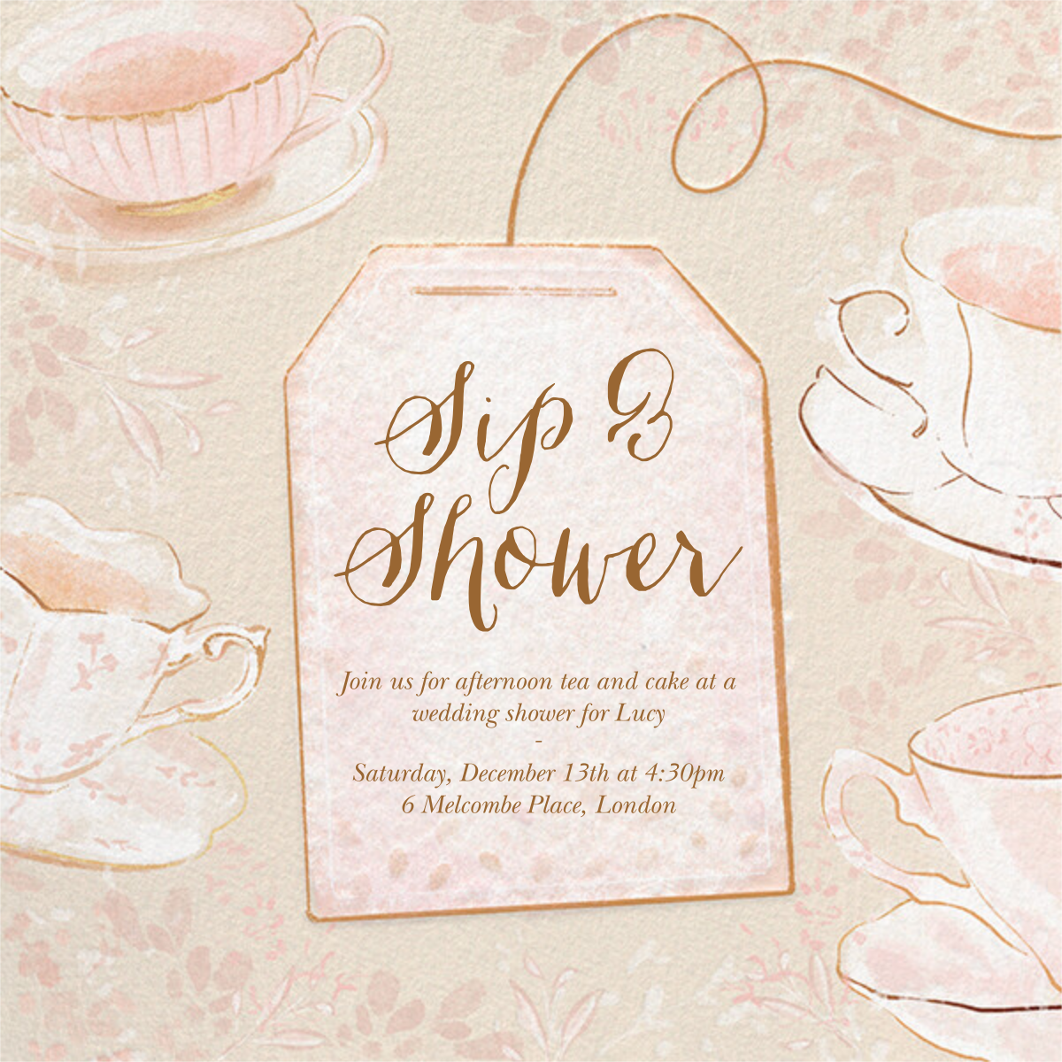 Sipping Tea - Paperless Post - Bridal shower