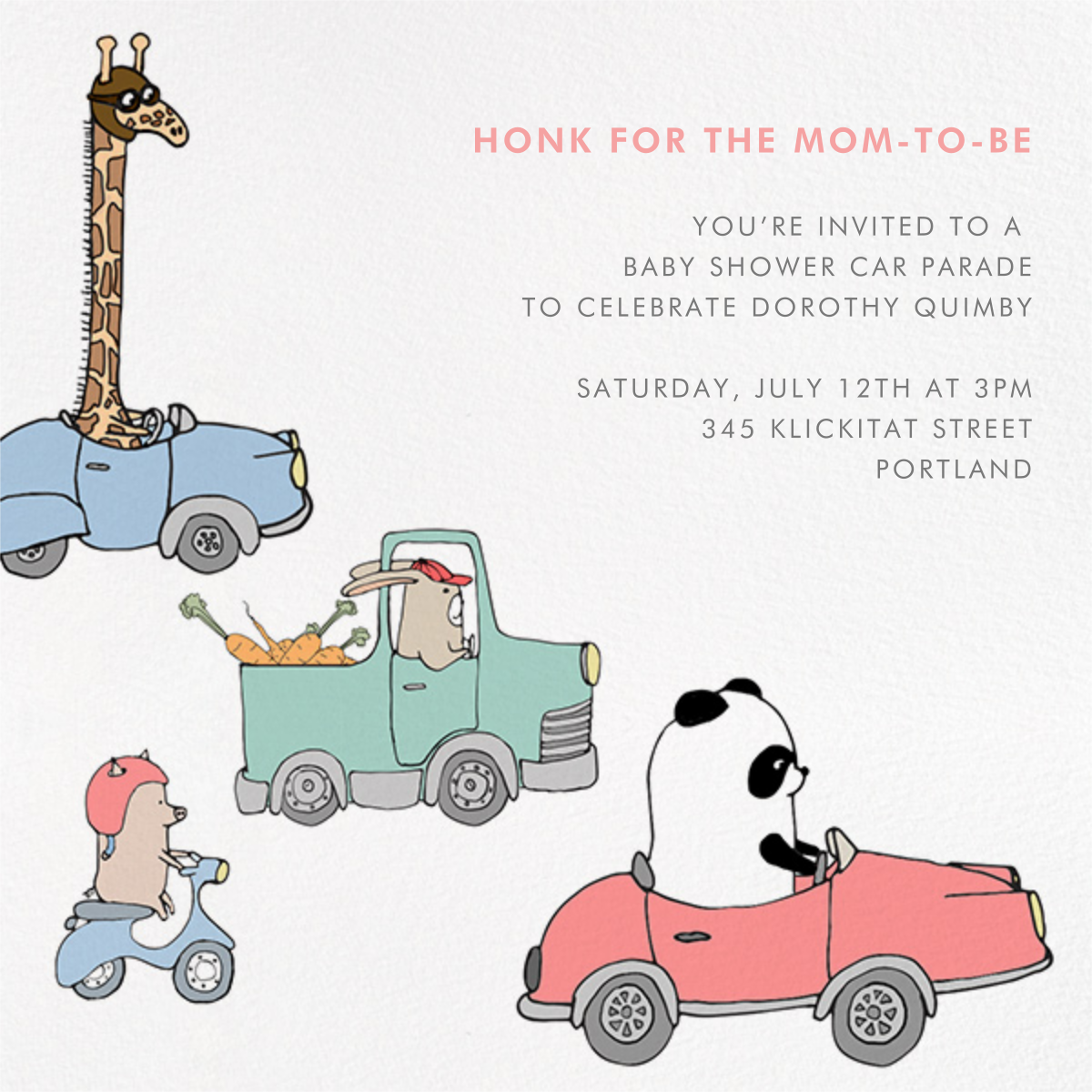 Automotive Animals - Paperless Post - Baby shower