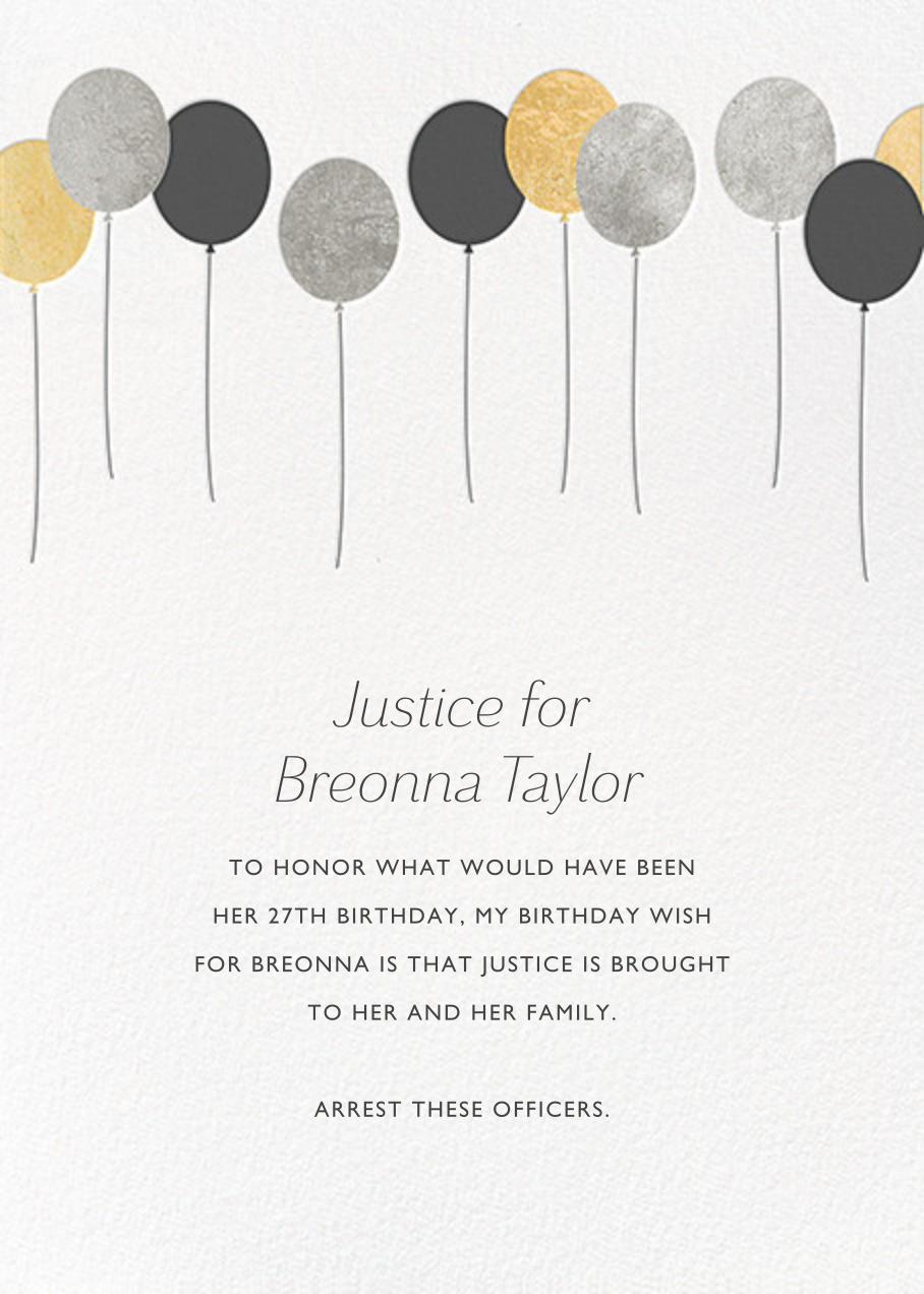 Balloons - Metallic - Paperless Post - Breonna Taylor birthday cards