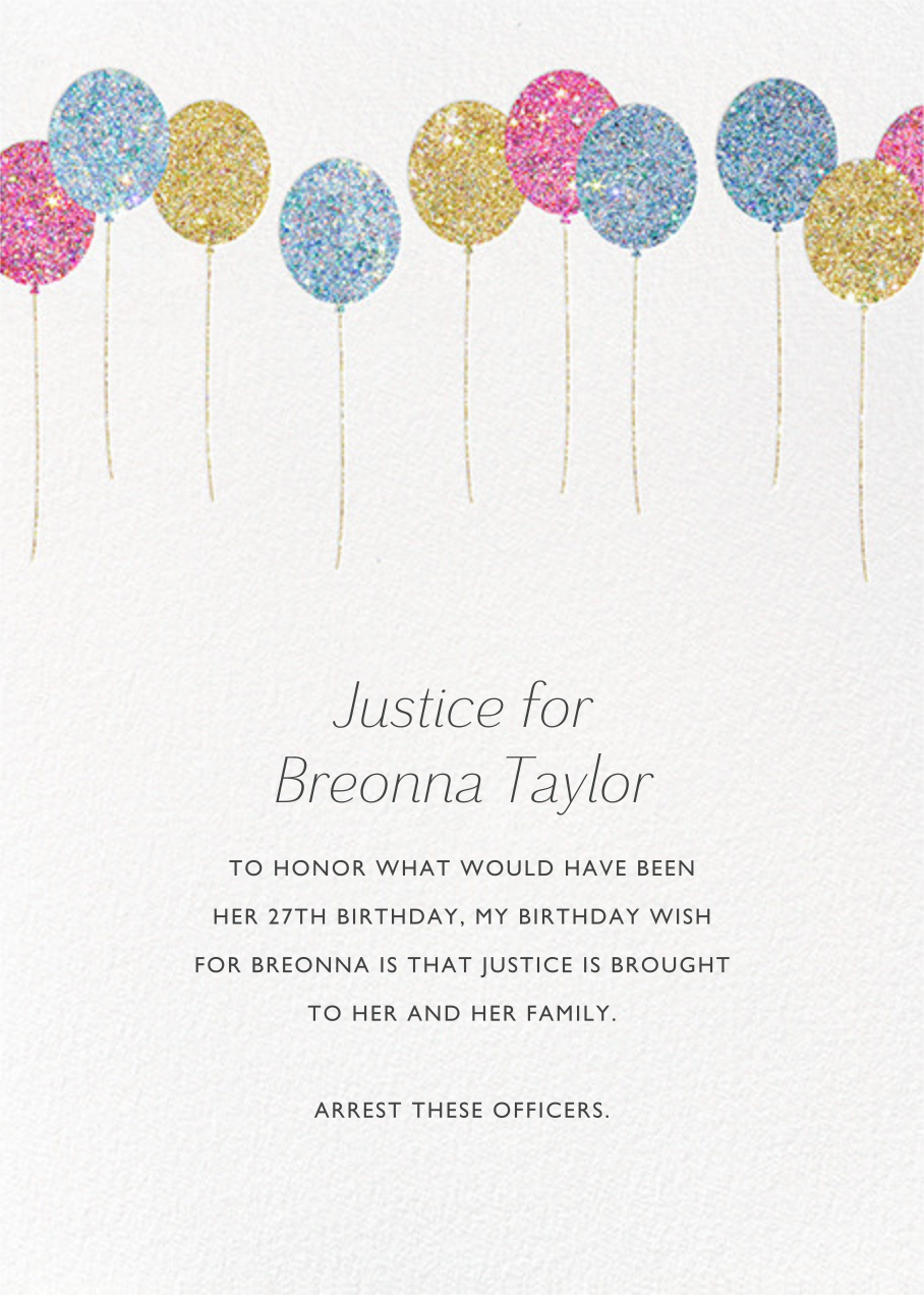 Balloons - Glitter - Paperless Post - Breonna Taylor birthday cards